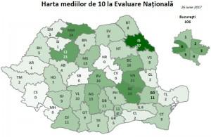 harta medii 10 evaluare nationala 2017