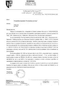 raspuns CJ Alba pentru Asociatia Pro Garbova de Sus cheltuieli DJ 103E