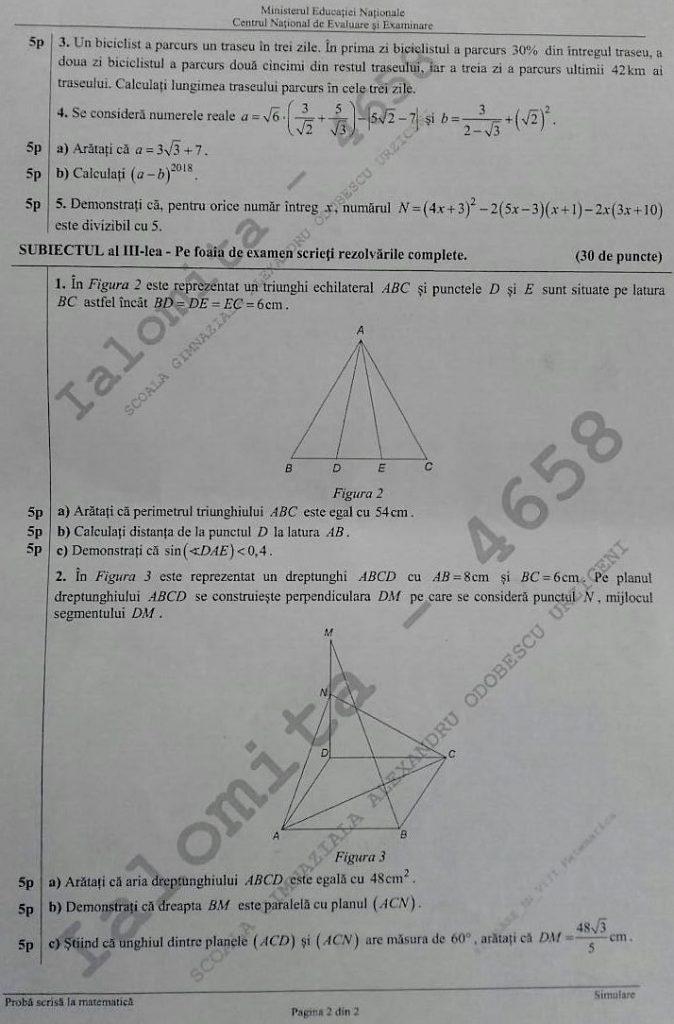subiecte simulare evaluare matematica 1