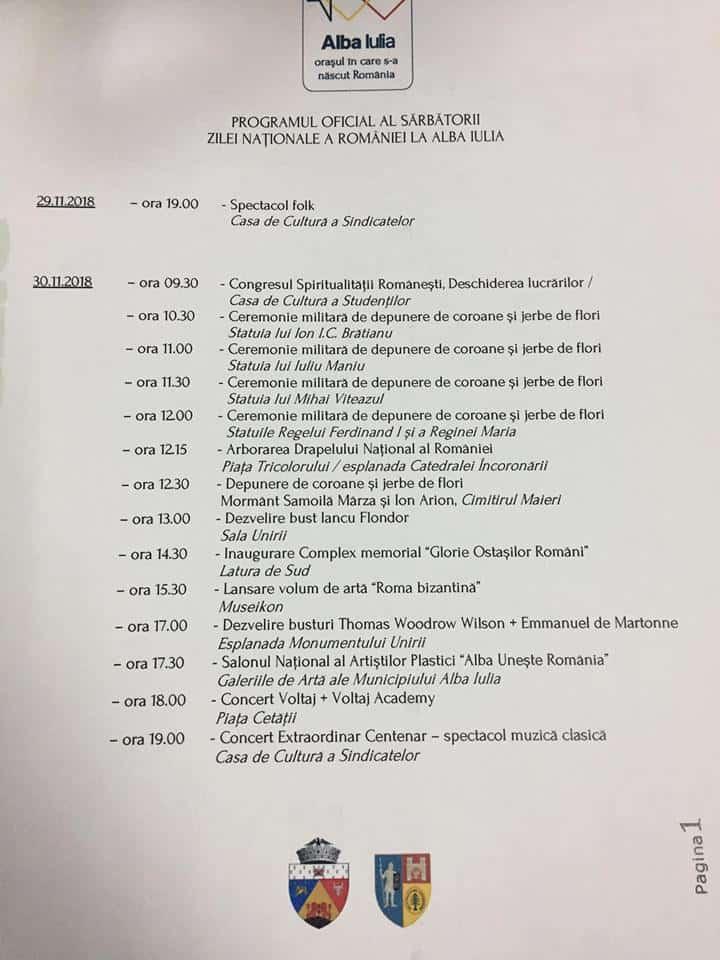 program 1 decembrie