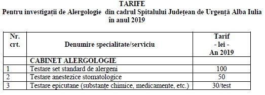 tarife alergologie 2019