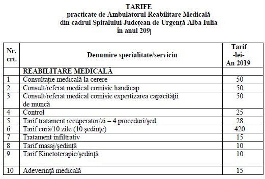 tarife ambulator reabilitare 2019
