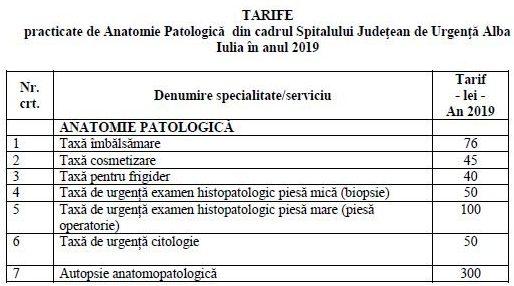 tarife anatomie 2019