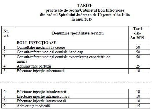 tarife boli infectioase 2019