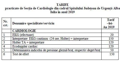tarife cardio 2019