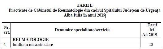tarife reumatologie 2019