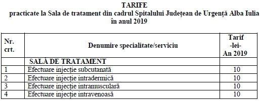 tarife sala tratament 2019