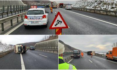 colaj accident remorca rasturnat autostrada