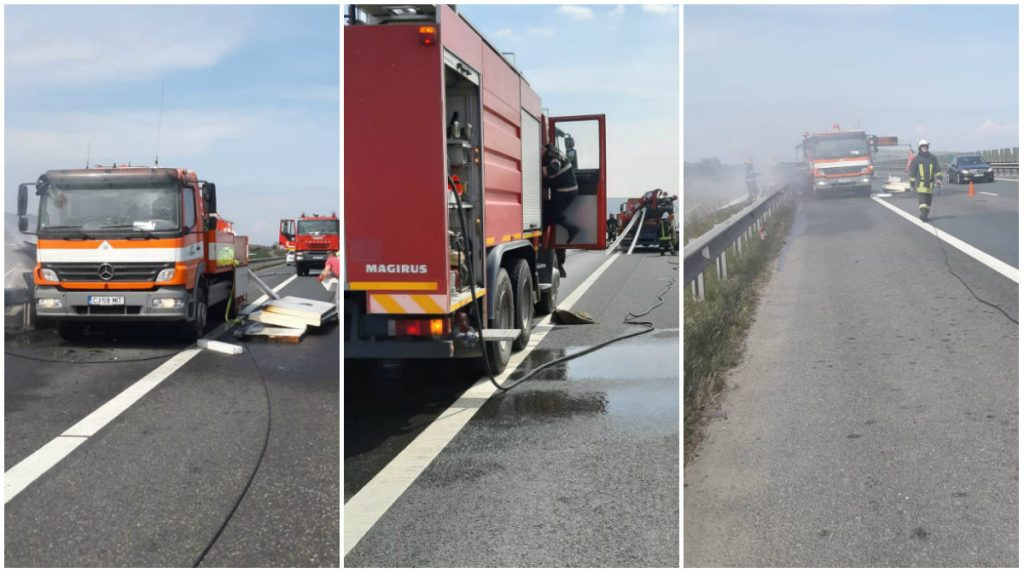 camion incendiu autostrada