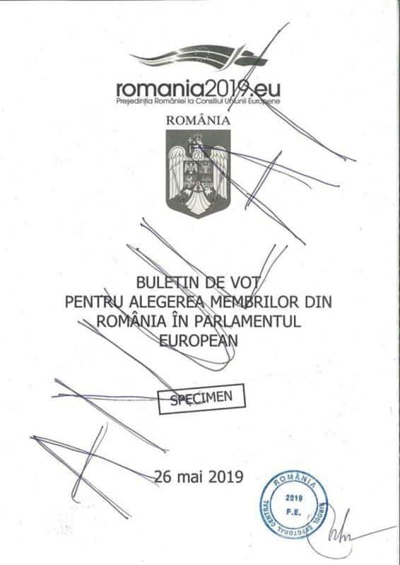 buletin vot europarlamentare 2019 coperta