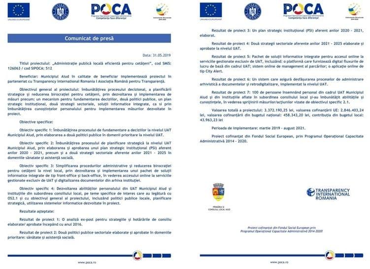 comunicat POCA Primaria Aiud_31 mai 2019