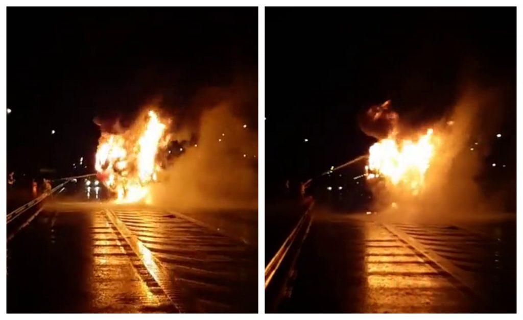 UPDATE VIDEO: INCENDIU violent pe Autostrada A1, între Sebeș și Orăștie. Cabina unui TIR s-a făcut scrum