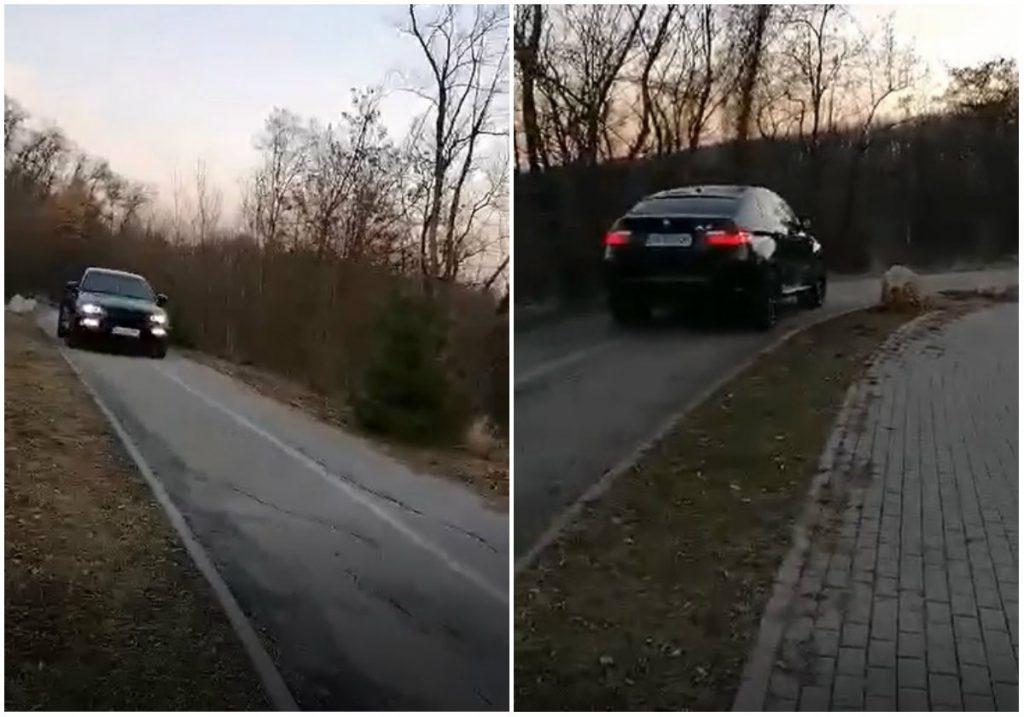 VIDEO ȘTIREA TA: Tupeu la Alba Iulia. Cu mașina de lux, pe pista de biciclete de la Mamut