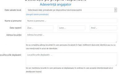 declaratie coronavirus online