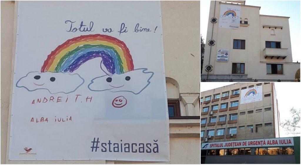 FOTO: Totul va fi bine! – Mesajul montat pe clădirea Spitalului Județean din Alba Iulia și pe secția de Infecțioase
